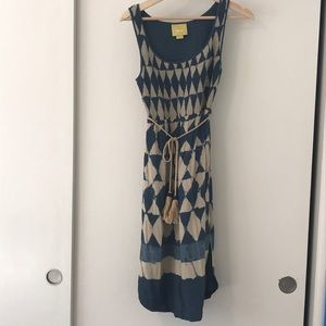 Blue and tan Anthropologie dress.